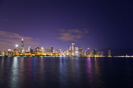 financial district (night view Chicago)  Standard-Bild