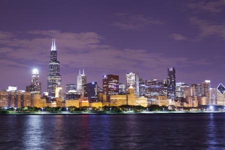 financial district (night view Chicago)  版權商用圖片