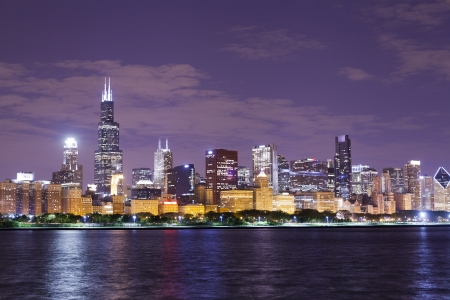 commercial real estate: financial district (night view Chicago)  Stock Photo