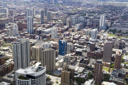 Aerial view of Chicago Downtown photo
