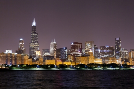 financial district (night view Chicago)  Stock Photo - 15277213