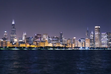 financial district (night view Chicago)  photo