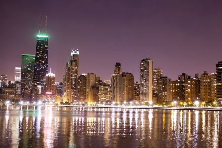 financial district (night view Chicago)  Stock Photo - 15860244