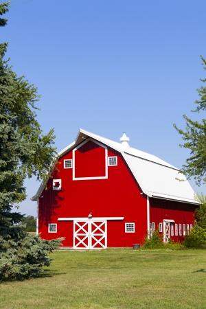 American Country Farm With Blue Sky  Stok Fotoğraf