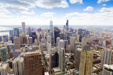 chicago skyline: Aerial View (Chicago Downtown)