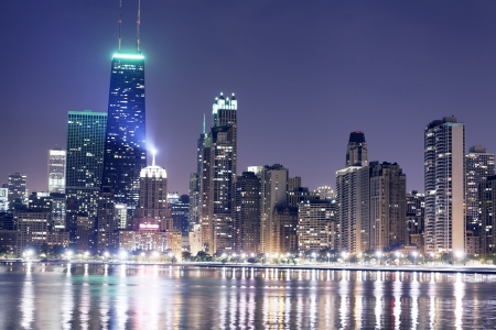 Night View On Chicago Skyline Stock Photo - 15860143
