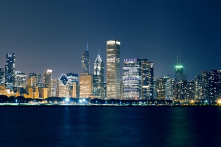 Night View On Chicago Skyline photo