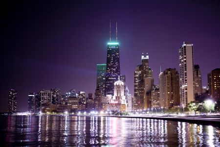 Financial District (vista nocturna de Chicago) photo