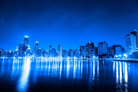 financial district (night view Chicago) Stock Photo - 15859510