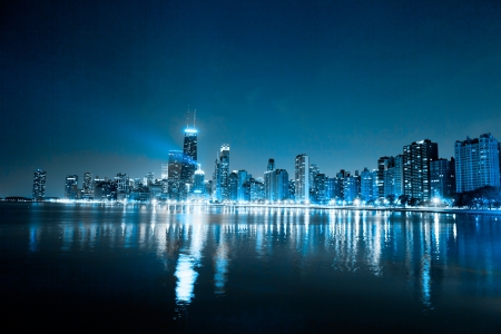 financial district (night view Chicago)  Imagens