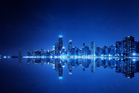 usa cityscape: financial district (night view Chicago)  Stock Photo
