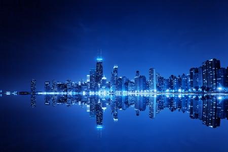 financial district (night view Chicago)  Foto de archivo