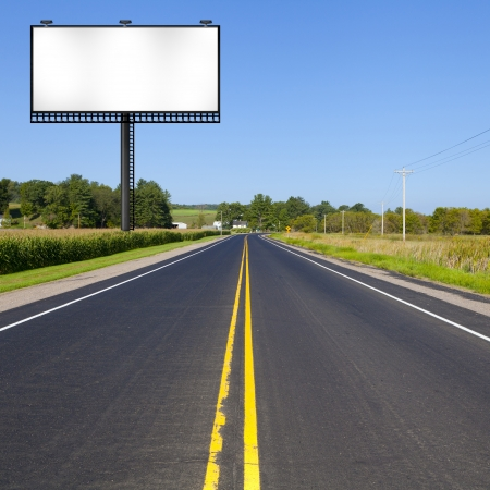 blank billboard: Countryside Road in the morning Stock Photo