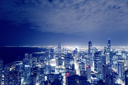 aerial view city: Night View On Chicago Skyline