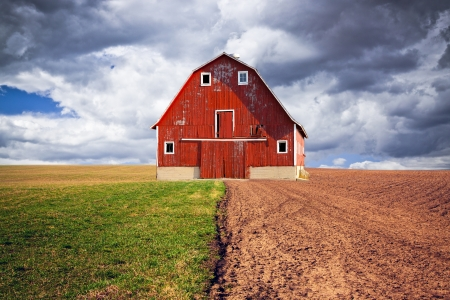 Traditional American Red Barn With Blue Sky  photo