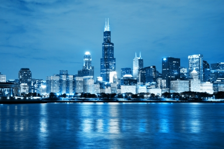 Chicago: Chicago Night Skyline as Financial Fistrict