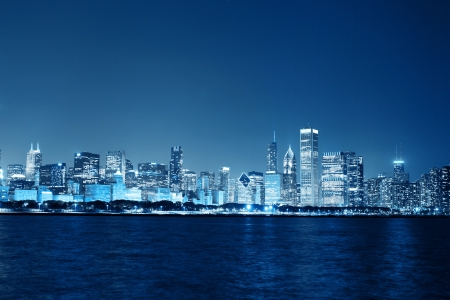 Chicago Night Skyline as Financial Fistrict   photo