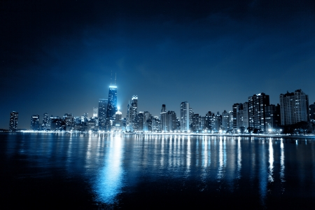 commercial real estate: Chicago Night Skyline as Financial Fistrict