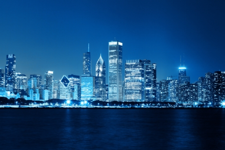 Chicago Night Skyline as Financial Fistrict
