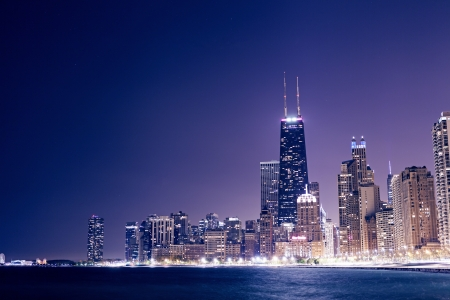 Chicago Downtown Skyline at Night photo