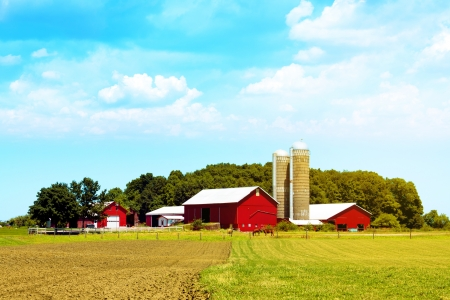 푸른 하늘이 미국의 시골 레드 팜 스톡 콘텐츠