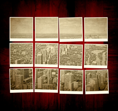 old photo: Vintage Chicago Pictures on Wooden Table
