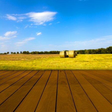 table surface: Old Table Surface With Blurred Countryside Landscape