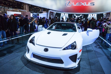lfa: CHICAGO - FEB 16: The  Lexus LFA on display at the 2013 Chicago Auto Show on February 16, 2013 in Chicago, Illinois.