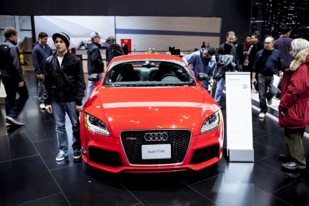 CHICAGO - FEB 16: The Audi TT RS on display at the 2013 Chicago Auto Show on February 16, 2013 in Chicago, Illinois.
