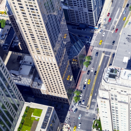 aerial city: Chicago Downtown