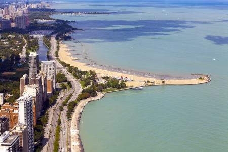 lake shore drive: Chicago Lake Shore Drive Aerial View