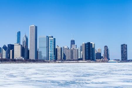 michigan snow: Chicago Cityscape in winter