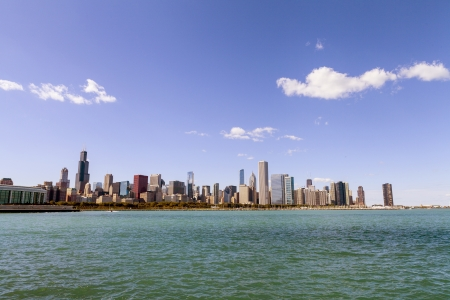 emigrati: Downtown Chicago con cielo blu