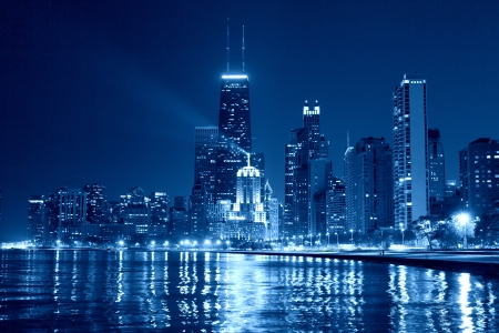 Chicago Skyline at Night Stock Photo - 18296525