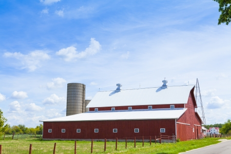 Traditional American Red Farm in Summer  photo