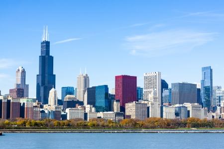 emigranti: Downtown Chicago con cielo blu