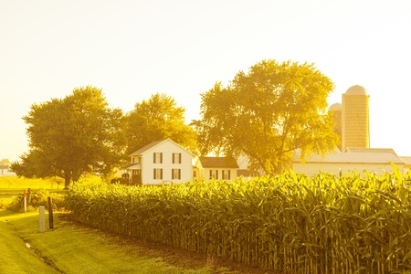 American Countryside Landscape With White Barn