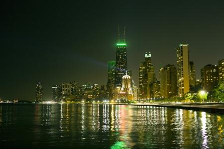 Chicago Skyline at Night Stock Photo - 19006904