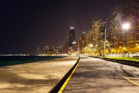 street lamp: Chicago North Beach At Night