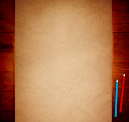 Old Paper on Wooden Table photo