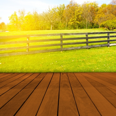 agriculture wallpaper: Old Table Surface With Blurred Countryside Landscape