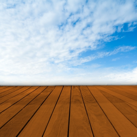 Old Table Surface With Blurred Countryside Landscape photo