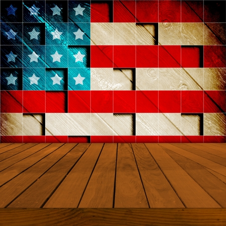 patriotic background: Old Table Surface With Retro Wallpaper
