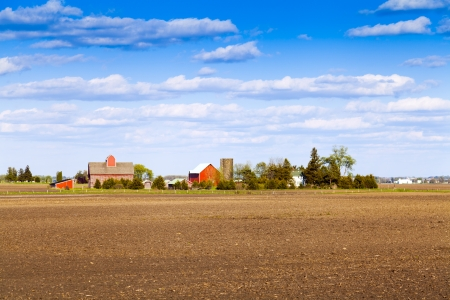 silo: Traditional American Farm With Blue Sky