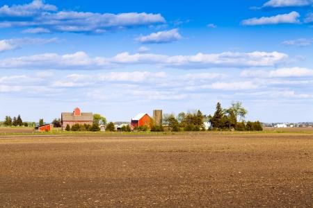 factory farm: Traditional American Farm With Blue Sky