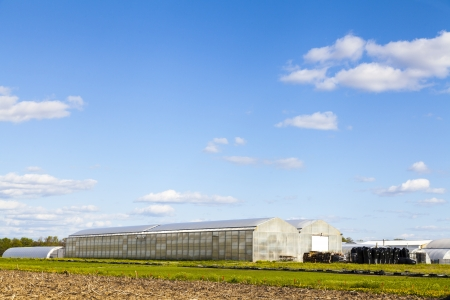 Traditional American Farm With Greenhouse photo