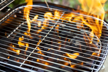 metal grid: House Grill With Big Flame Stock Photo