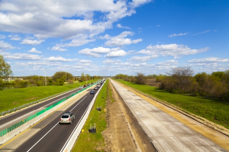 tollway: Road Work On American Tollway Stock Photo