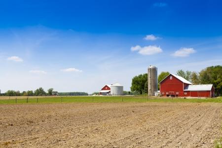 푸른 흐린 하늘이 미국의 전원 스톡 콘텐츠