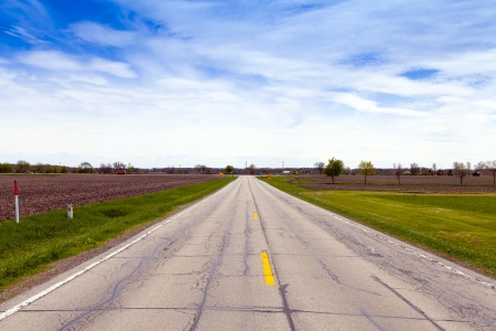 road surface: Country Road With Blue Sky Stock Photo